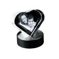 3D foto in glazen hart incl lichtsokkel
